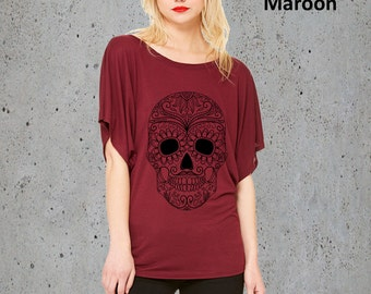 Sugar Skull Clothing,Womens SUGAR SKULL T Shirt)Girlfriend Gifts,Flowy Slouchy Tunic,Women's Graphic Tee-Day of the Dead-Birthday Gifts
