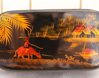 Vintage Antique Japanese Black Lacquer Jewelry Box with a Mirror - Hand Painted- Hinged Box