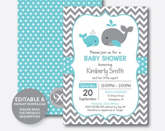 Whale baby shower Etsy
