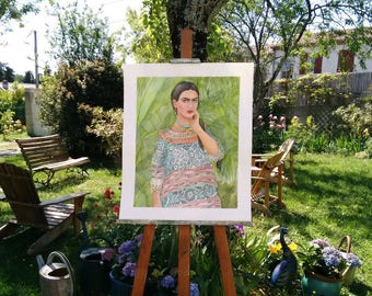 Frida Kahlo in the garden. Original watercolor. Original painting.