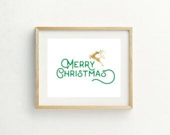 Merry Christmas Reindeer Print, Holiday Print, Christmas, Green, Wall Art, Christmas Printable