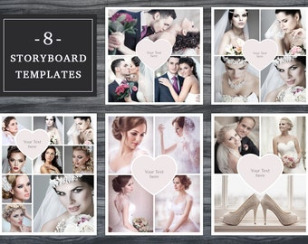 Storyboard Templates Set 004 for Photoshop - 8x10 + 12x12 -  Photo Collage - Photographer Template - Heart Collage - Mood Board - Moodboard
