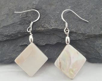 Sterling Silver Ivory Mother of Pearl Shell Drop Earrings