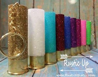 Glitter 12 Gauge Shotgun Shell Keychain, rustic, dangle, car accesories, truck accesories