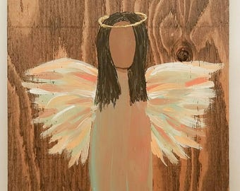 Earth Angel my Guardian Dear, hand painted Angels, Personalised Guardian Angel, child's room, Memorial, peach, green brown