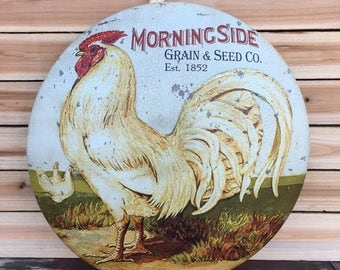 Rooster Grain & Seed Vintage Style Metal Sign ~ Farmhouse Decor ~ Farm Sign ~ Craft Supplies ~  Egg Chicken Decor ~ Kitchen ~ Assemblage