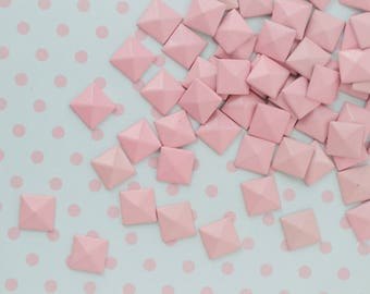 8mm Pastel Pink Pyramid Studs Flatback Decoden Cabochon - set of 50