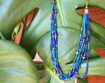 Handmade necklace made of glass beads in blue - boho summer