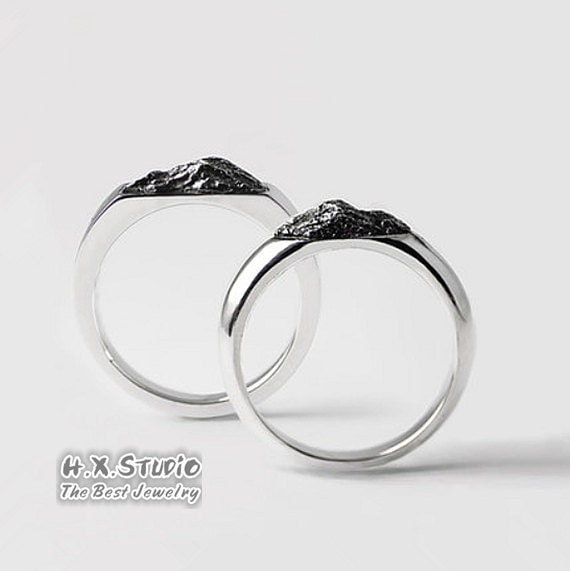 handmade mountain rings unique couples ring set