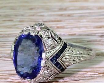 Art Deco 5.07 Carat Natural Ceylon Sapphire Solitaire Ring, circa 1925