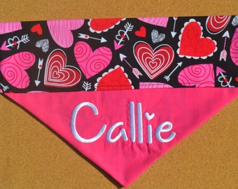 Happy Hearts ~ Personalized/Reversible - Over The Collar Dog Bandana