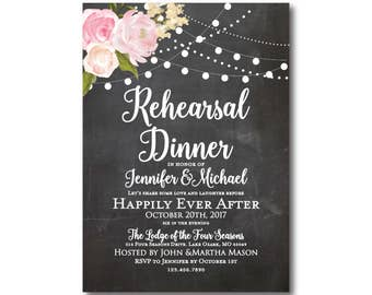 Rustic Rehearsal Dinner Invitation, Country Chic, Hanging Lights, Floral Wedding, Rustic Wedding, Printed Rehearsal Invitation #CL104