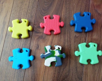 Silicone Puzzle Teether/Pendant (Single or Lot of 6)