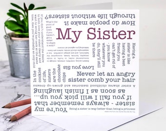 Sister Card; My Sister Birthday Card; Big Sister Birthday Card; Little Sister Birthday Card; Personalised Sister Card; Sisters; GC582