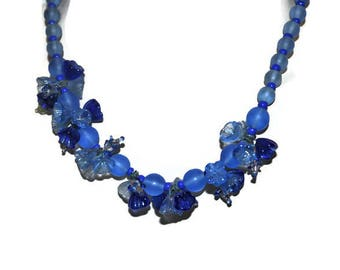 Blue 1930's Floral Necklace // Vintage Glass Necklace With Flowers