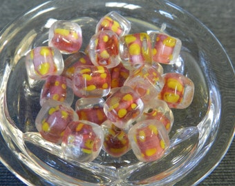 Set of 23 Pink & Yellow Encased in a Clear Square Cube Lampwork Beads - 10mm - Yellow Polka Dots