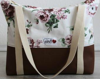 XXL leatherette Tote Bag flowers / Maxi bolso flores y polipiel