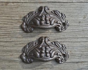 A pair of small Victorian style cast iron Acanthus drawer pulls AL8
