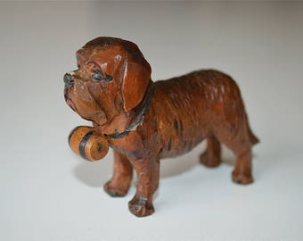 Lovely Swiss wood carving St. Bernard mountain dog with brandy barrel