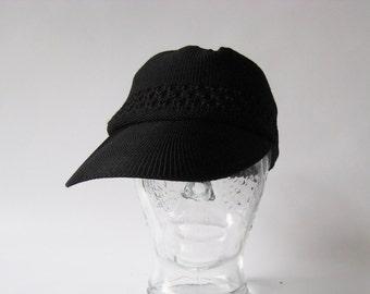 Vintage Baseball Cap Crochet Cap Summer Cap Macrame Cap Open Stitch Black Trucker Cap Chunky Knitted Cap Macrame Cap Summer Hat Black Hat