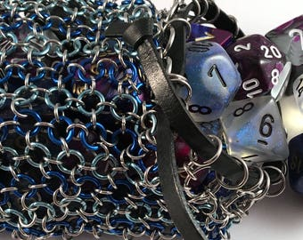 Chainmaille dice bag/ LARP coin pouch in blue