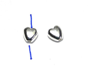 2 pc. Solid Sterling Silver Puffed Heart Beads 5 mm