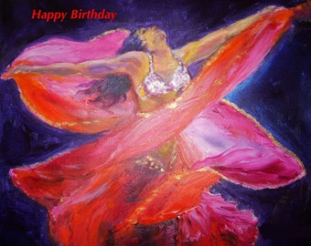 "Belly Dancer Folded  Birthday Card 7""x5"" Blank inside for your own message"