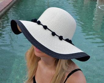 Black Floppy Beach Hat with Pom-Poms