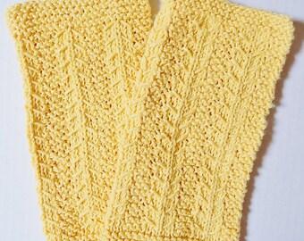 Yellow Dishcloths, Knitted Dishcloths, Hand Made Dishcloths, Kitchen Cloths, Cotton Blend, Dishrags, Knit Yellow Dishcloths