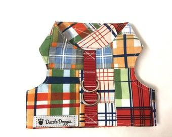 Dog harness, plaid dog harness, vest dog harness, Velcro dog harness, adjustable dog harness, summer dog harness, puppy harness