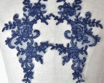 Navy Blue Floral Lace Applique Pair of Fabric Patches - More Colours