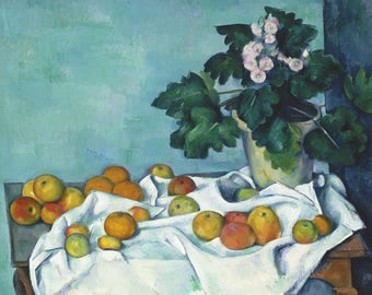 Paul Cezanne: Still Life with Apples and a Pot of Primroses. Fine Art Print/Poster. (004217)