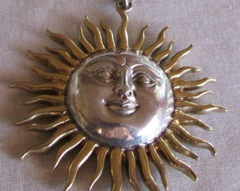 Sterling Silver Sun Pendant with Gold Tone Rays