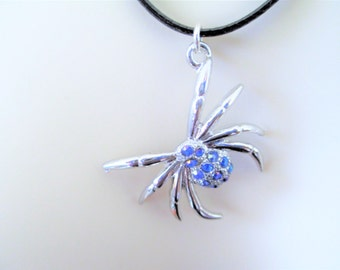 Spider Necklace, Blue Rhinestone Spider Necklace
