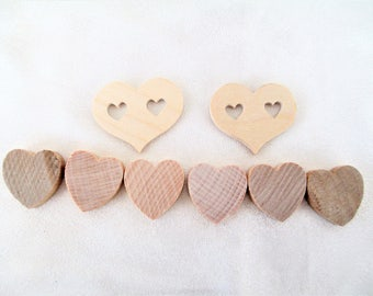 Wooden Mini Hearts Set Of 8, Unfinished Wooden Hearts, Craft Hearts, Wood Craft Supplies