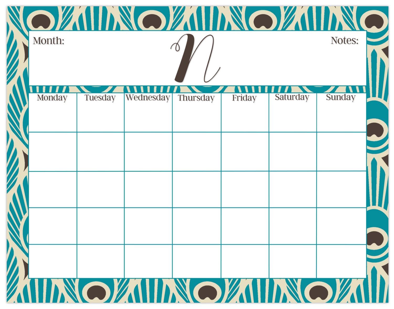 Large Desk Calendar Peacock Print Monthly Calendar Or Weekly