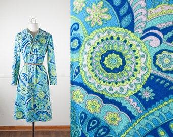 Psychedelic Dress, 60s Dress, Floral Print Dress, Mod Shift Dress, Bohemian Dress, 70s Dress, Cute Dress, Boho Dress, Teal Blue Dress