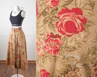 Floral Print 90s Maxi Skirt, Long Skirt, 90s skirt, Soft Grunge Clothing, Khaki Skirt, Rose Print Skirt, Romantic Skirt, Bohemian Skirt