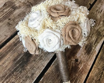 Burlap Bridal Bouquet in Natural and Ivory : Burlap Bouquets, Burlap Wedding Bouquets, Rustic Bouquets, Burlap Flowers, Alternative Bouquets