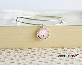 Brave Girl Charm Bracelet - Brave Word Bracelet - Brave Quote Bracelet -  (S8491)