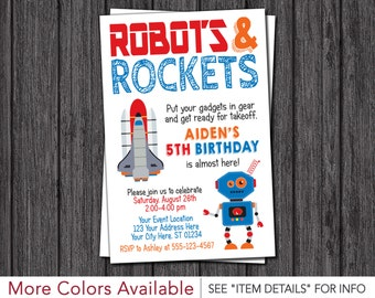 Robots and Rockets Birthday Invitation - Rockets and Robots Birthday Invitations