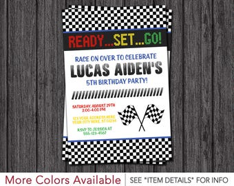 Race Car Birthday Invitation - Racing Birthday Party Invitations