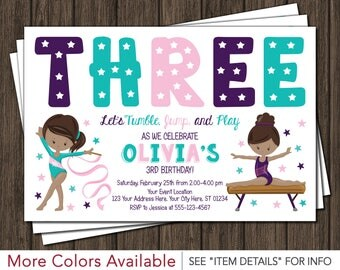 Gymnastics Birthday Invitation | Gymnastic Invitations | Any Age
