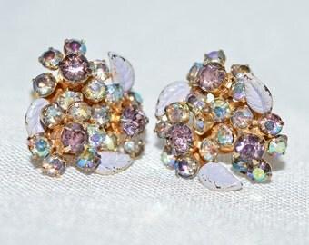 Gorgeous Vintage Earrings - Weiss New York, Flowers, Purple and Aurora Borealis Rhinestones