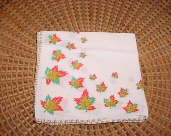 Leaves Fall Leaf Hankie Hanky BEAUTIFUL Handkerchief Fancy Edge