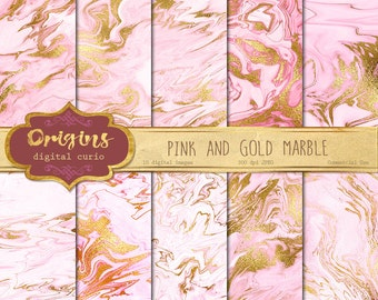 Pink and Gold Marble Digital Paper, pink marble, gold marble textures, gold vein marble digital paper, marble backgrounds, scrapbooking