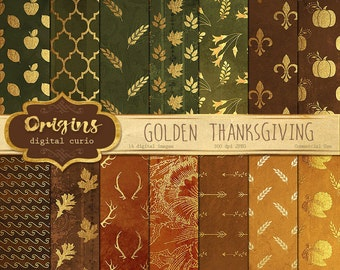 Thanksgiving Digital Paper - Gold Autumn Patterns Digital Paper Pack, Gold foil clipart texture backgrounds, instant download commercial use