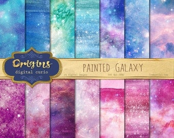 Painted Galaxy Digital Paper, watercolor starry night backgrounds, printable night sky nebula scrapbook paper, paint watercolour textures