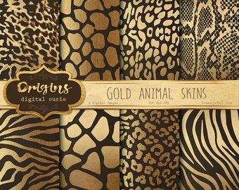 Gold Animal Skins digital paper - African animal print, giraffe skin, zebra, leopard, tiger, vintage jungle safari gold foil scrapbook paper