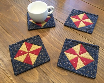 Quilted Mug Rugs / Quilted Coasters / Mug Rugs / Handmade / Patriotic / Country Decor /Americana Decor/ Item # 1916